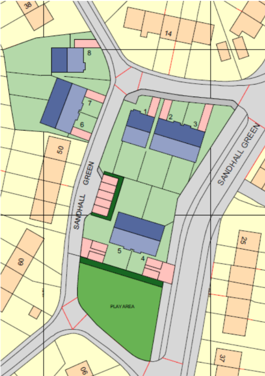 Picture that shows plans to build bungalows on Sandhall Green